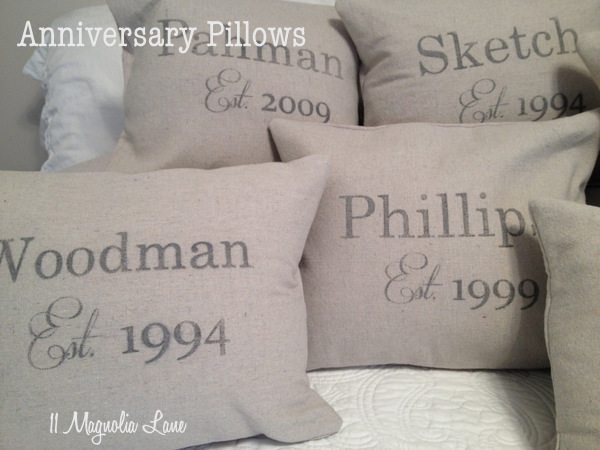Anniversary Pillow Slipcovers from 11 Magnolia Lane