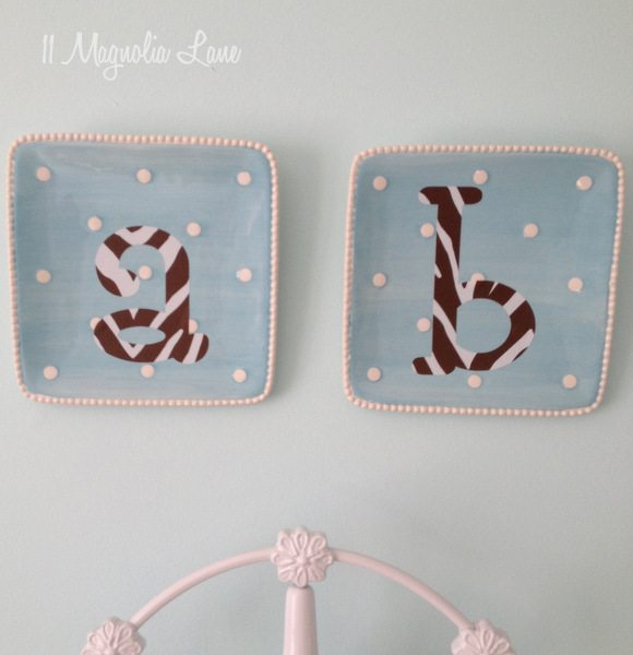 Monogrammed plate wall art at 11 Magnolia Lane