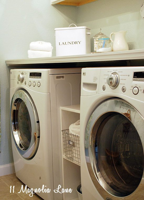 DIY folding shelf table laundry room