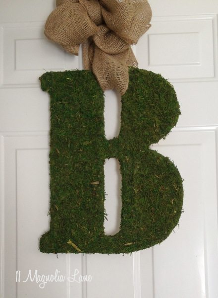 DIY tutorial for moss door letter