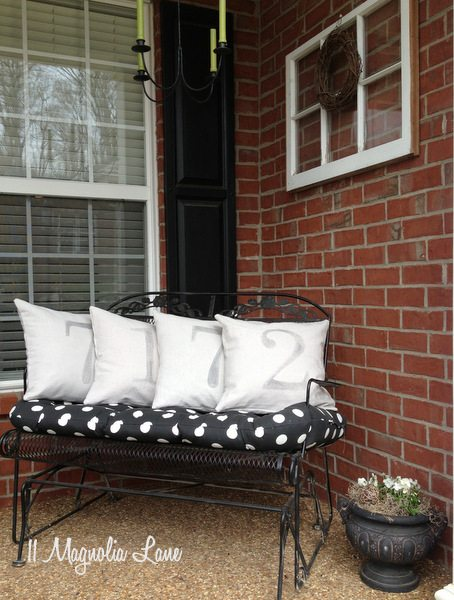 DIY house number porch pillows at 11 Magnolia Lane