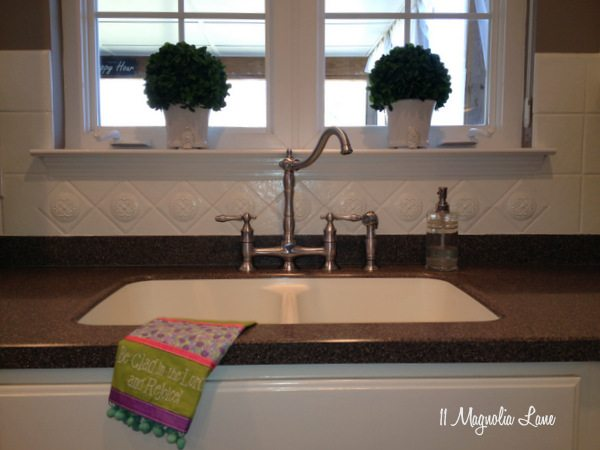 Painted tile backsplash in kitchen at 11 Magnolia Lane