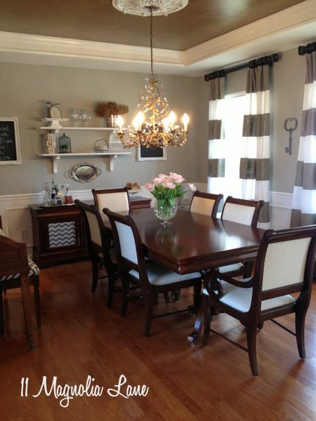 Grey and chevron dining room at 11 Magnolia Lane