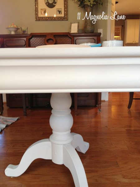 Dining room table with white chalk paint