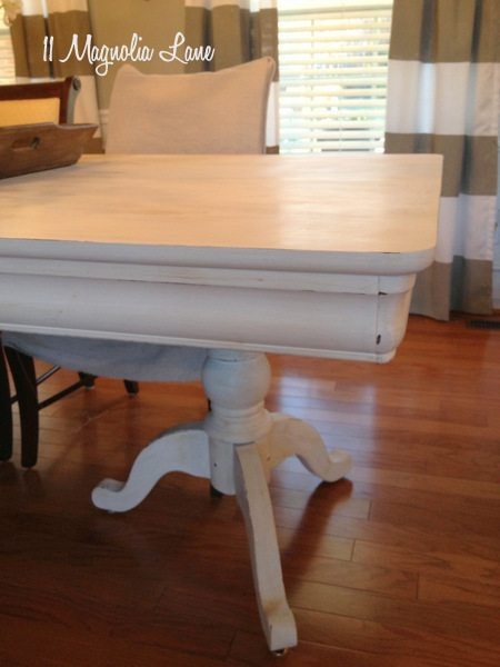 White chalk paint with dark wax and distressing