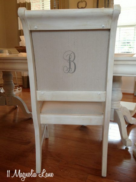 Monogram on back of dining room chair