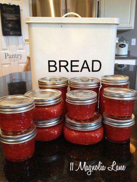 Strawberry jam in jars