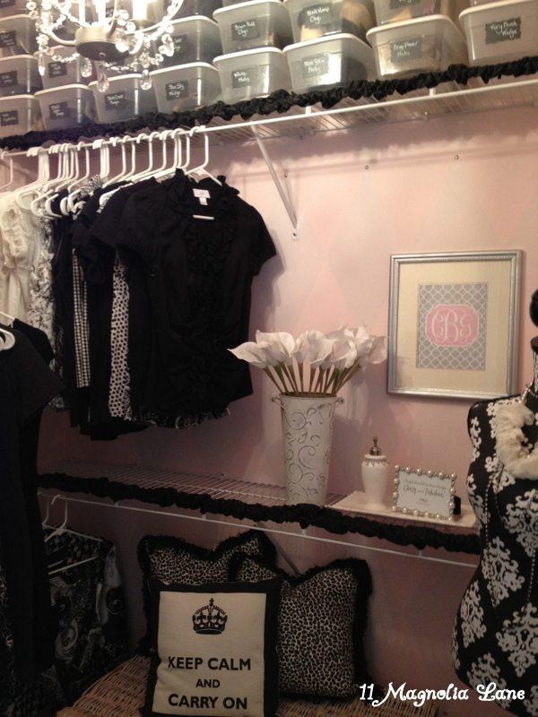 Pink and silver closet at 11 Magnolia Lane