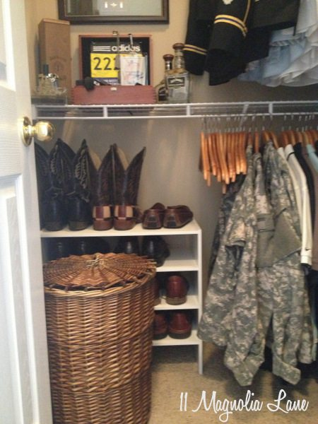 Shoe storage in his closet at 11 Magnolia Lane