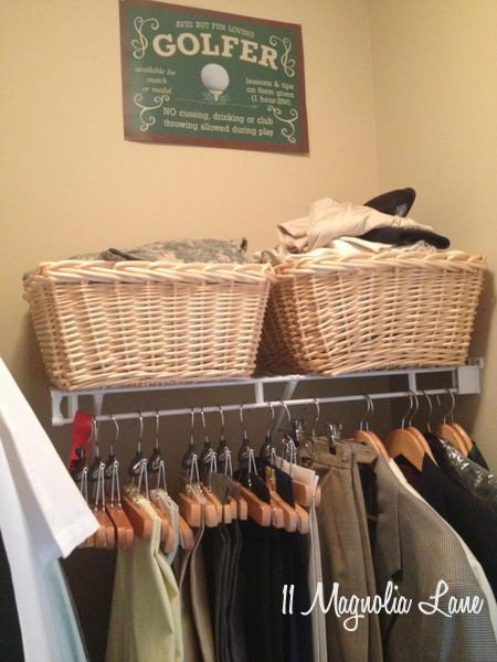 Golf decor in his closet at 11 Magnolia Lane