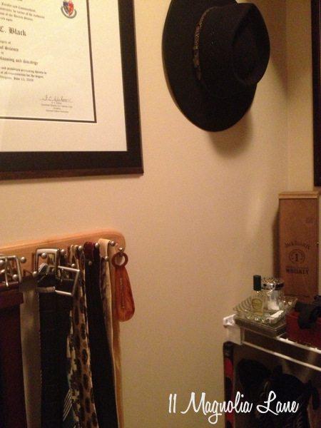 Tie rack in his closet at 11 Magnolia Lane