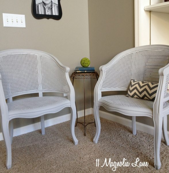 Annie Sloan chalk paint--Paris Grey cane chairs