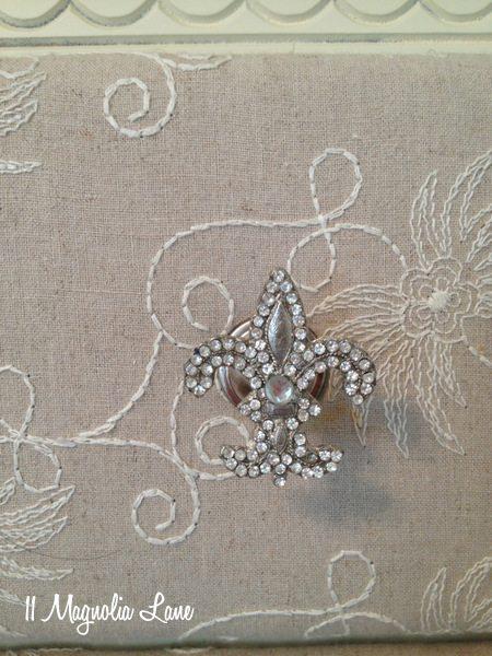Rhinestone fleur de lis drawer knobs