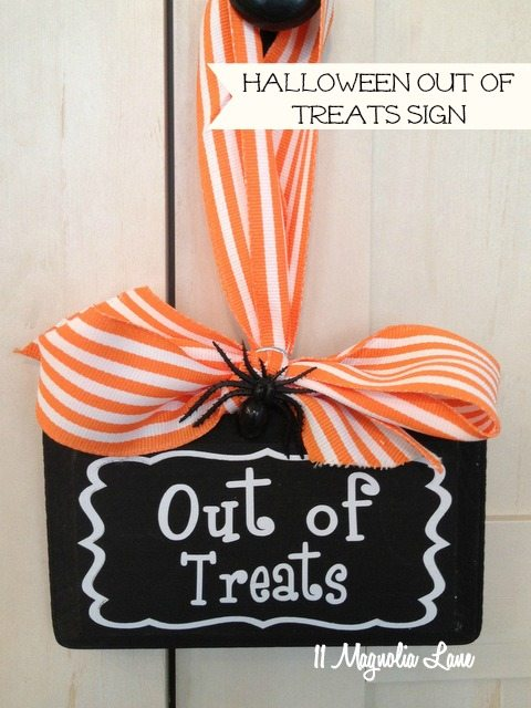 Halloween out of treats sign black