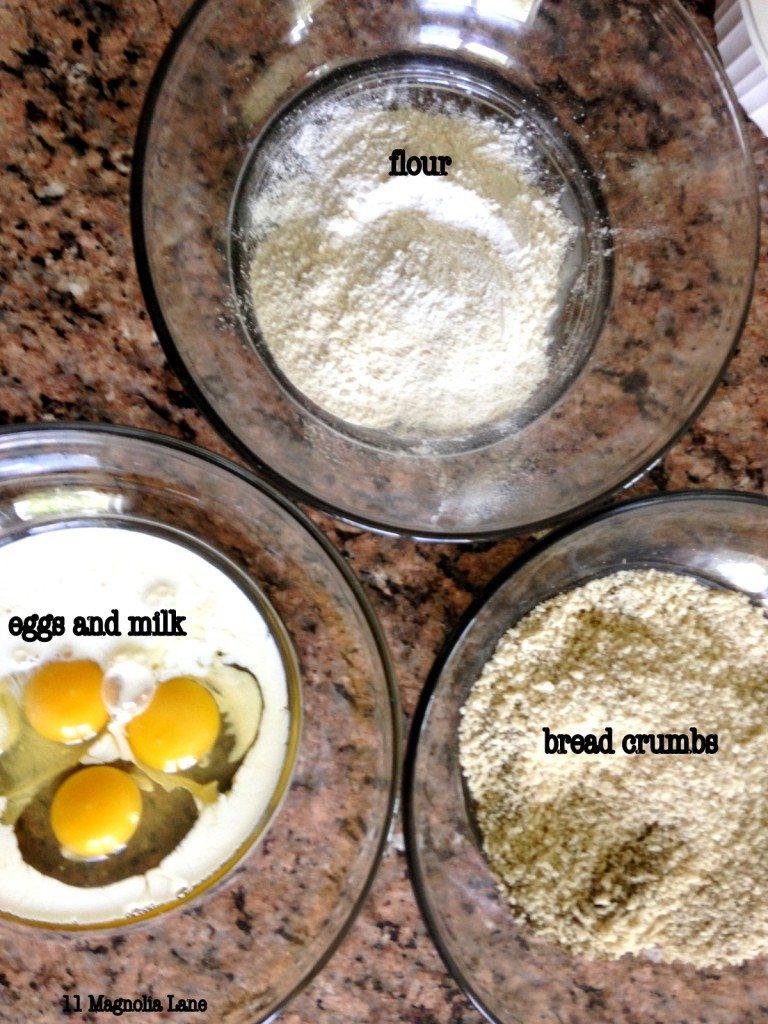 eggs, flour, breadcrumbs