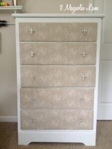 Painted, Fabric-Covered Dresser: Update on the Finished Project