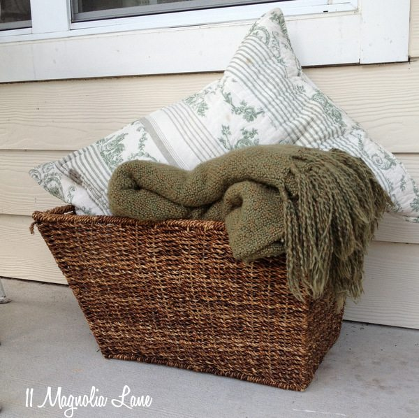 Blankets and pillows on porch