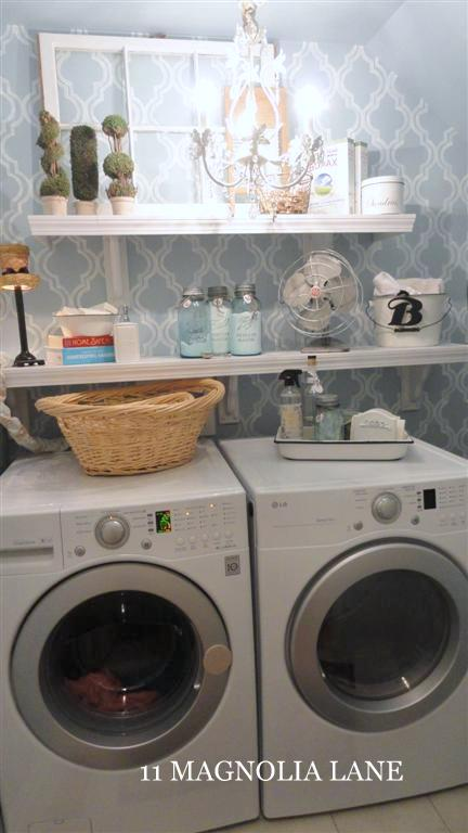 vintage window in laundry room