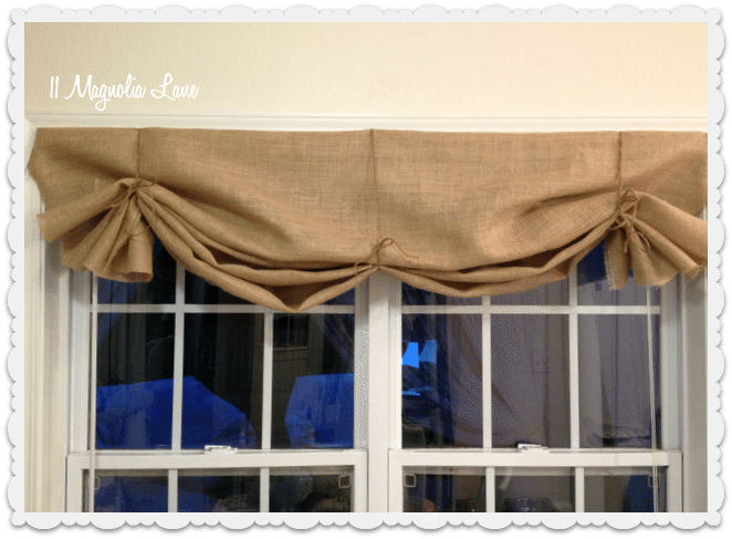 burlap valance three ties loose
