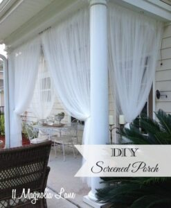 DIY Screened porch using inexpensive sheer curtain panels | 11 Magnolia Lane