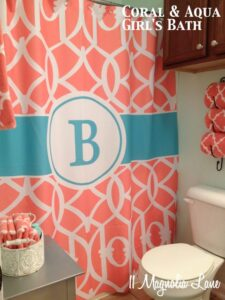 aqua coral girls bathroom