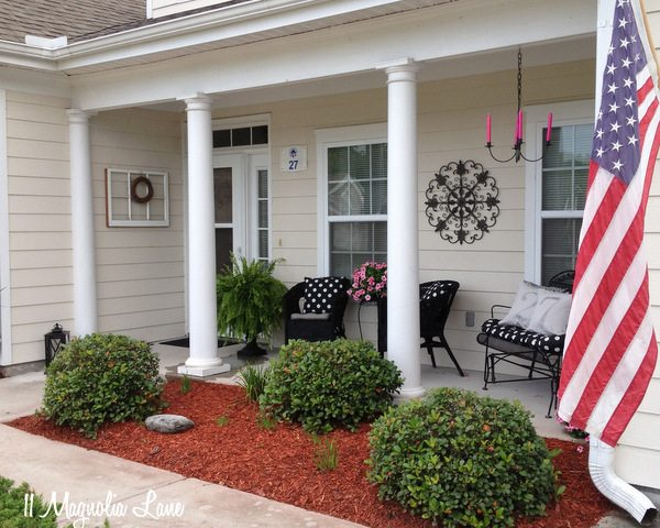 Front porch with black, white, and pink