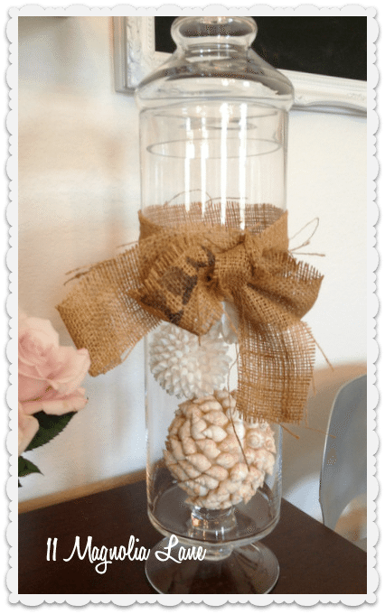 seashell balls in apothecary jar