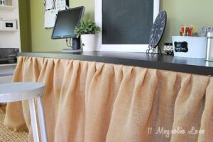 Adding Work Space~Assembling A Burlap-Skirted Desk