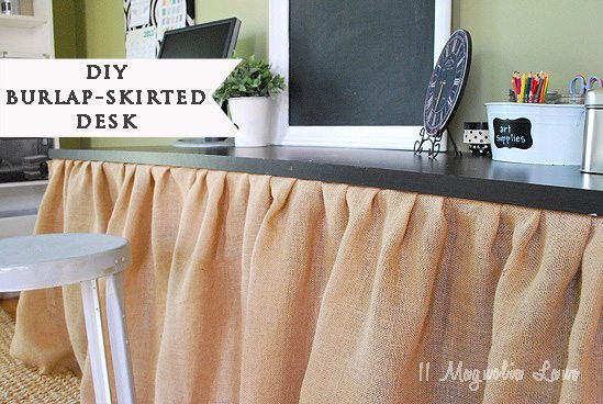 burlap skirted table marked