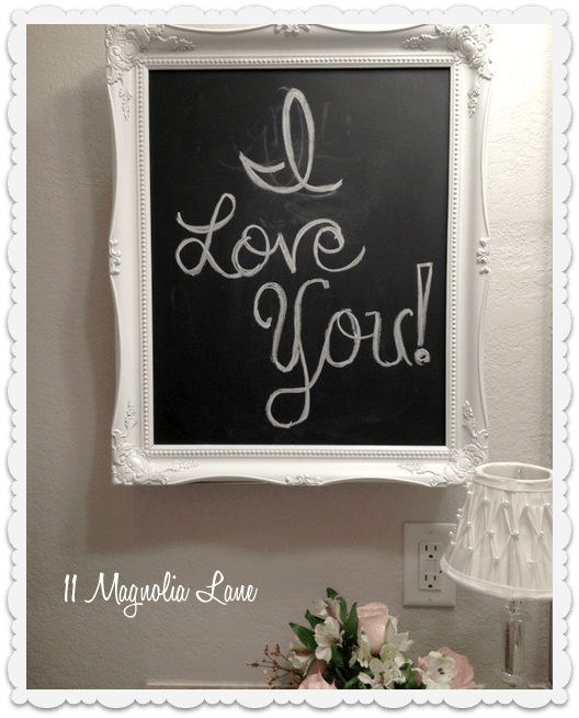 chalkboard over bathroom medicine cabinet