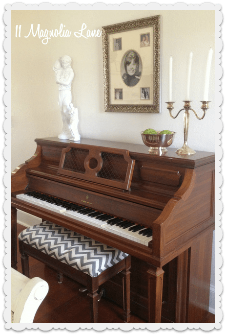 piano with gray chevron seat
