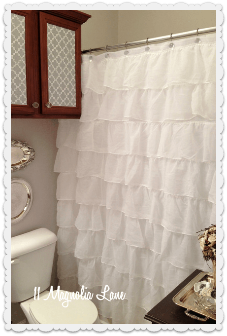 Ruffled shower curtain bathroom