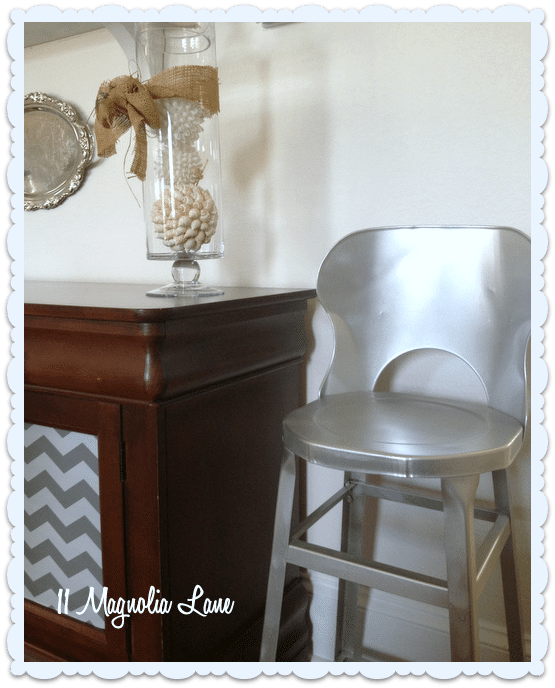 vintage silver stool