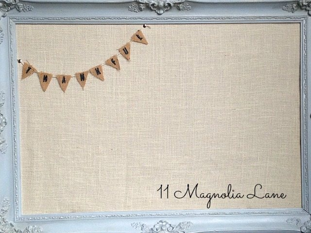 burlap and chalk painted Thankful Board
