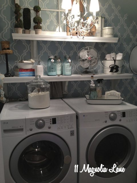 blue white laundry room chandelier