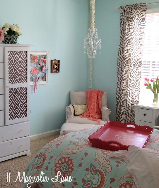 brown aqua pink girls room chandelier