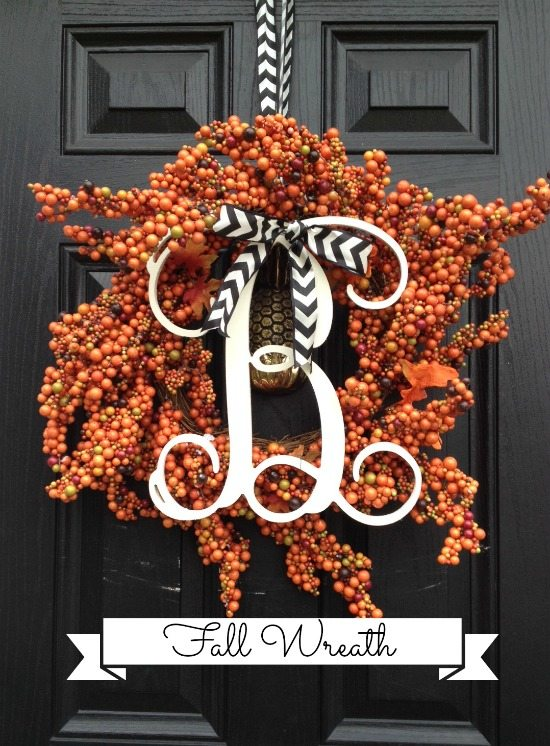 fall wreath monogram berries chevron