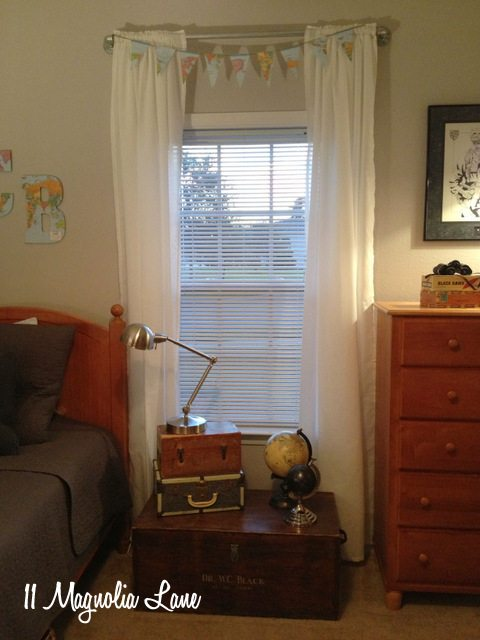 pipe window treatment boys room