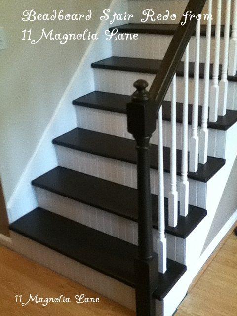 stair redo beadboard painted