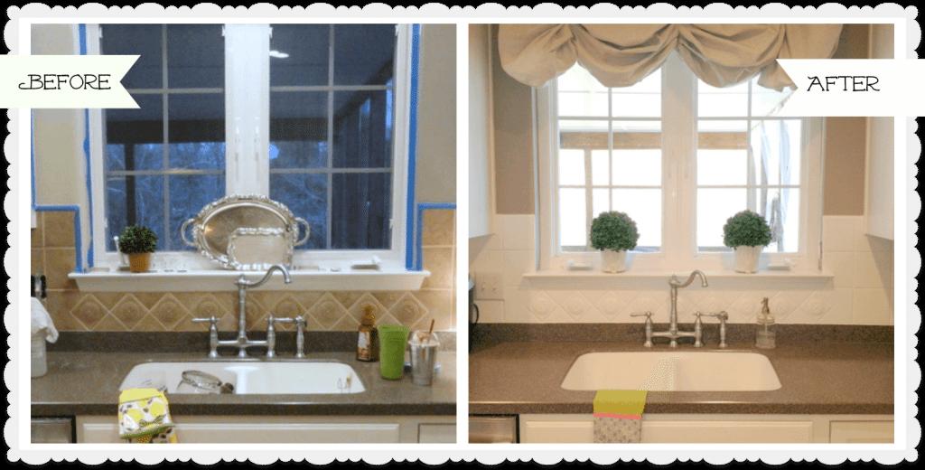 painted tile backsplash kitchen