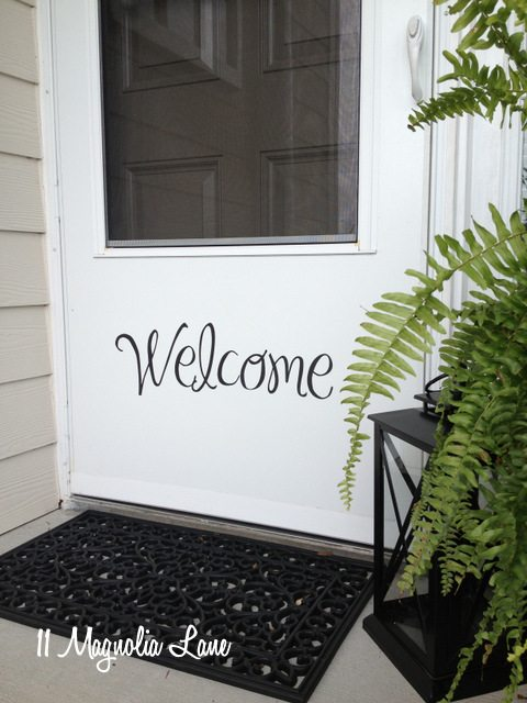 vinyl welcome on front door
