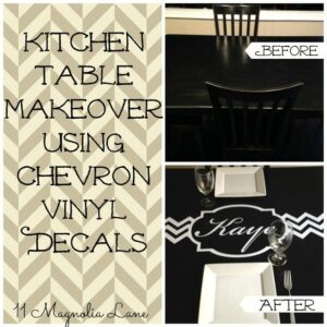 Kitchen Table Makeover Using Personalized Chevron Vinyl Decal