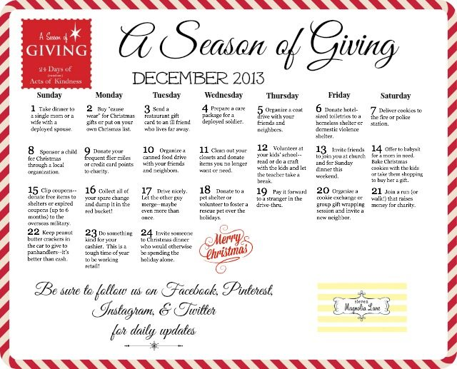 season of giving acts of kindness Christmas calendar