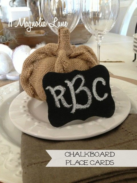 chalkboard place tags Thanksgiving