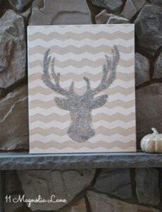 DIY Glitter Deer Head Art