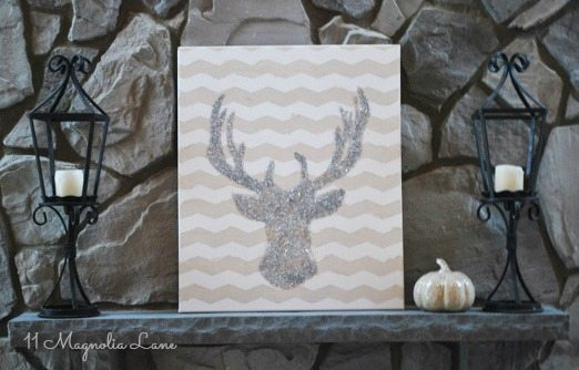glitter-deer-on-mantel