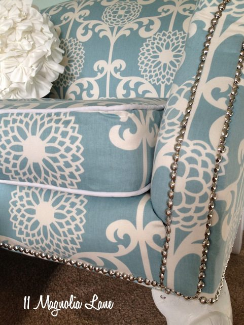 aqua white loveseat white piping