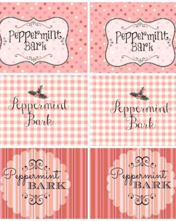 free printable labels tags for peppermint bark