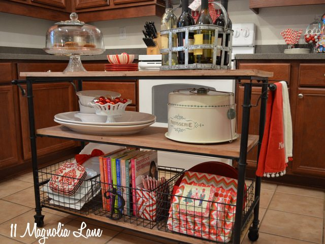 kitchen cart decorated for Christmas