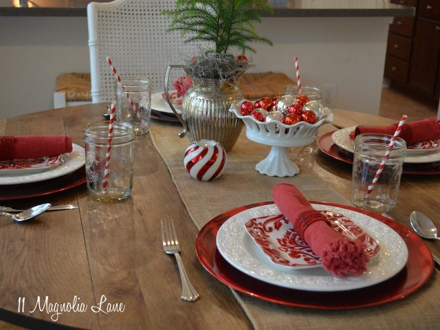 christmas casual table red